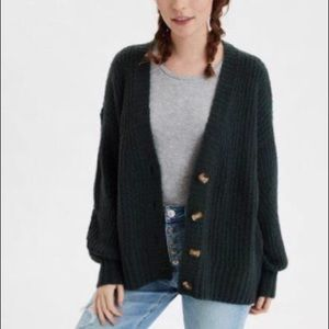 American eagle green oversized knit cardigan